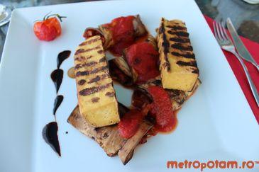 Tofu la gratar asezonat cu otet balsamic si rulouri de vinete