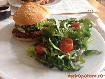 Quinoa Burger served with green salad and vinaigrette dressing