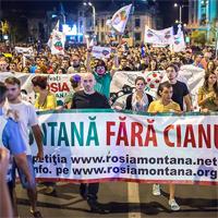 Protestul din Bucuresti impotriva exploatarii miniere de la Rosia Montana - poze si video