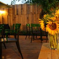 Terasa Modelier - curtea verde cu proiectii de filme si floarea soarelui