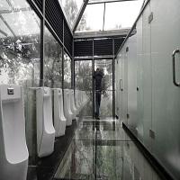 La zi pe Metropotam - Cum arata una dintre atractiile turistice extreme din China - o baie publica facuta doar din sticla trasparenta
