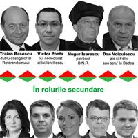Piesa de teatru in Piata Universitatii, cu Basescu, Ponta, Voiculescu si altii