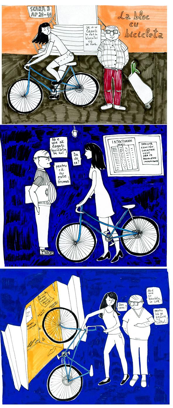 Viata la bloc, foileton grafic. Episodul 3: La bloc cu bicicleta