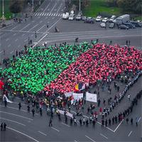 A saptea duminica de proteste in Bucuresti, cu mii de oameni si Frunza Umana in fata Guvernului